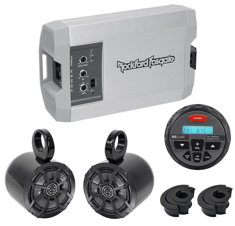 Rockford Fosgate tm400 X 2ad 400 W 2-ch Amp +キッカースピーカー+受信機ATV / UTV / RZR B071CP1MK4