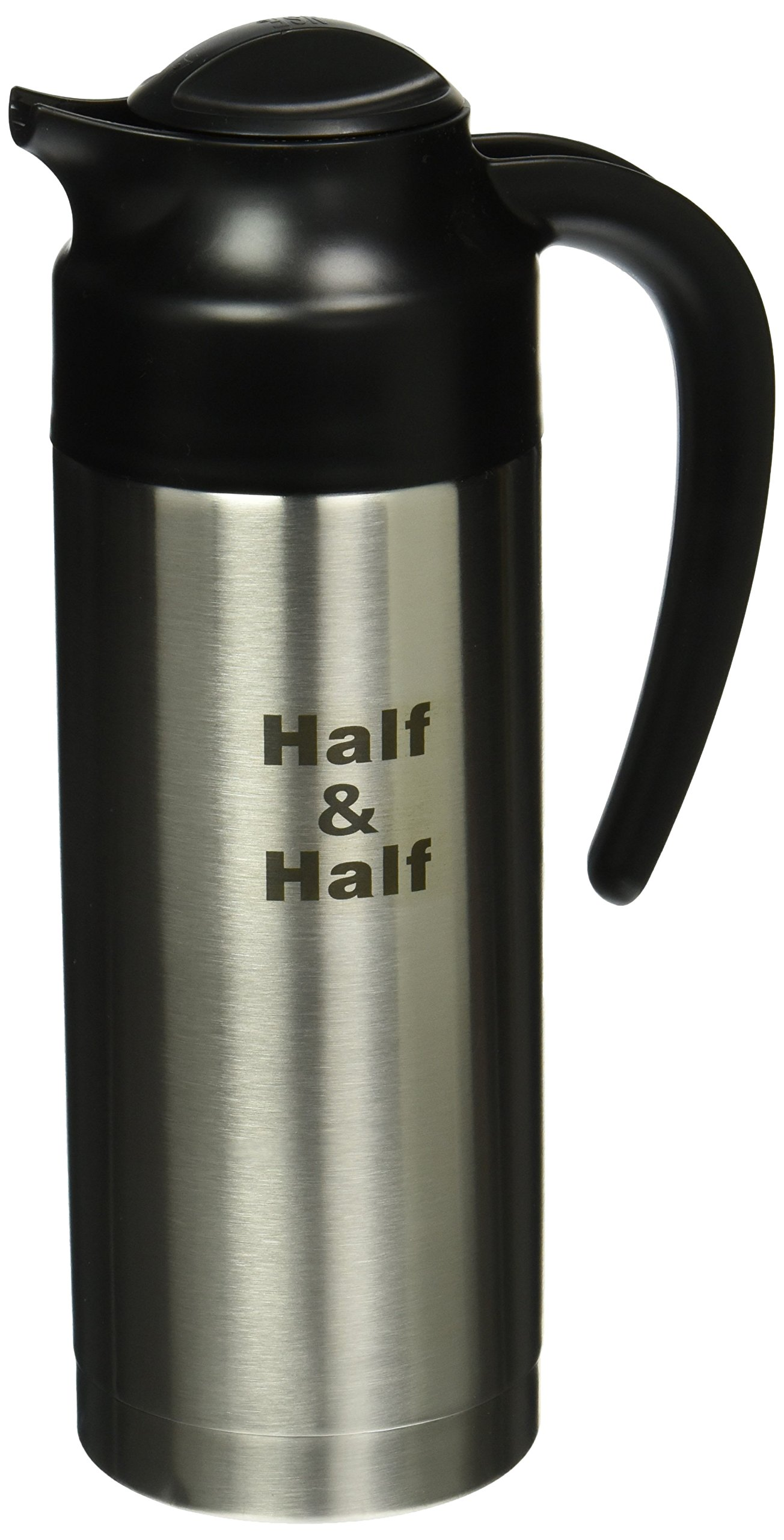 Service Ideas S2SN100HHET Steelvac Carafe, NSF, Stacked,''Half & Half'' Etched, 1 L