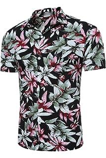 MOGU Hombre Casual Hawaiano Funky Flores Vacaciones Playa Manga Corta Camisas zR0a1DxlY