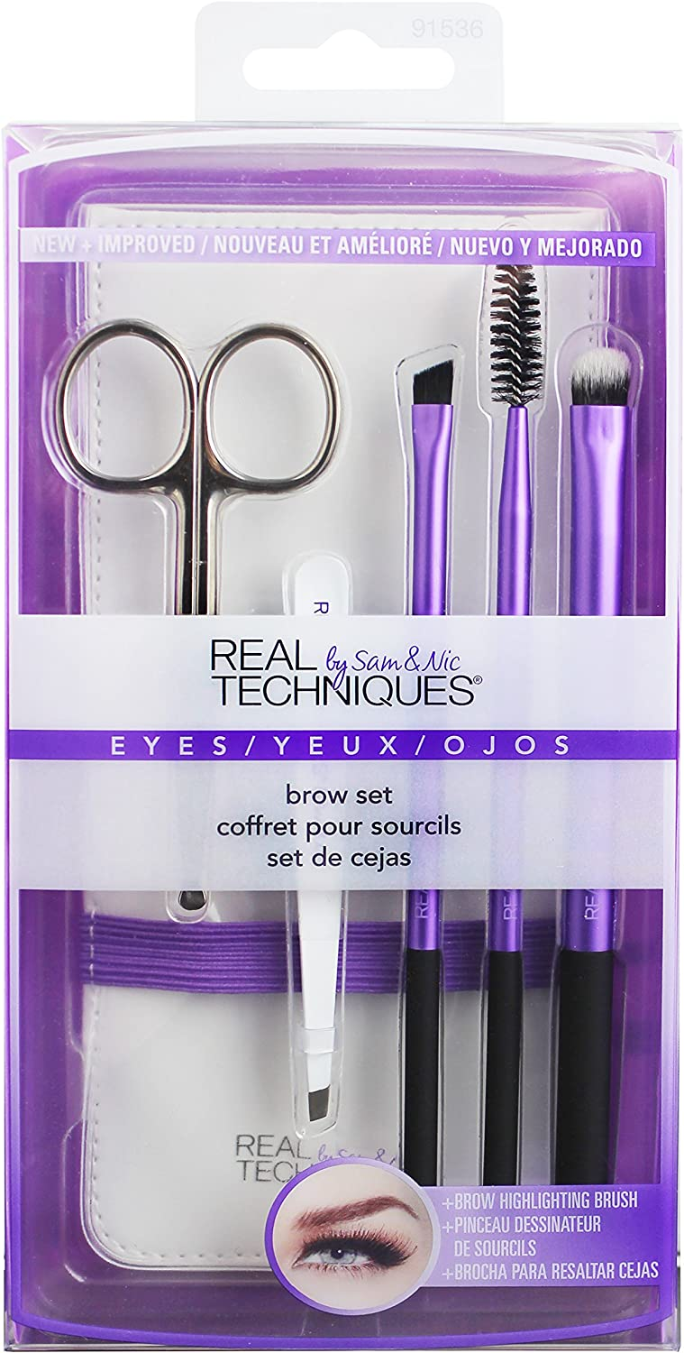 Real Techniques Brow Set - Kit de Brochas para Cejas, 180 g, Morado