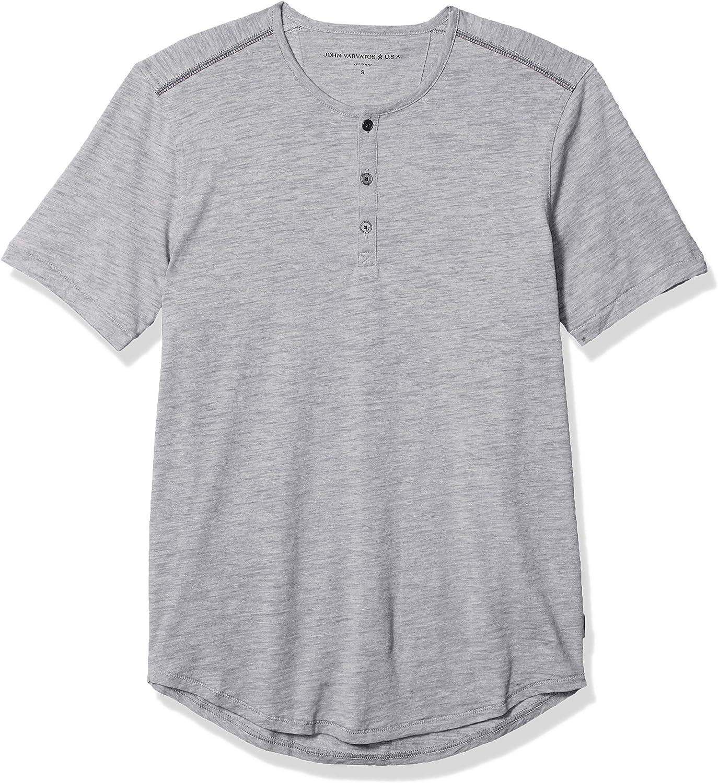 John Varvatos Star USA Men's Ryman Short Sleeve Disperse Dye Slub Henley