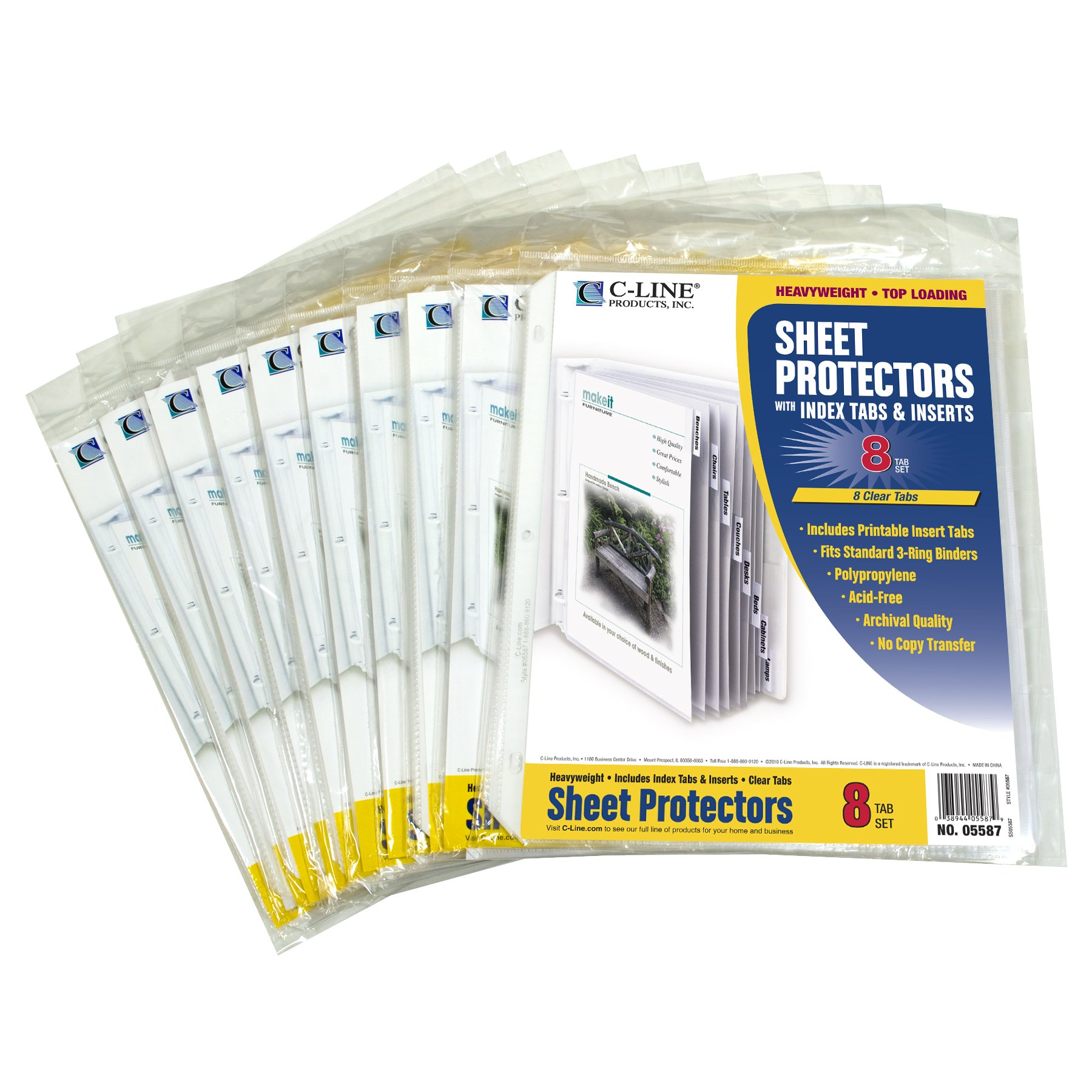 C-Line Polypropylene Sheet Protector with Index Tabs, Clear Tabs, 11 x 8.5 Inches, Ten 8-Tab Sets (05587-10) by C-Line