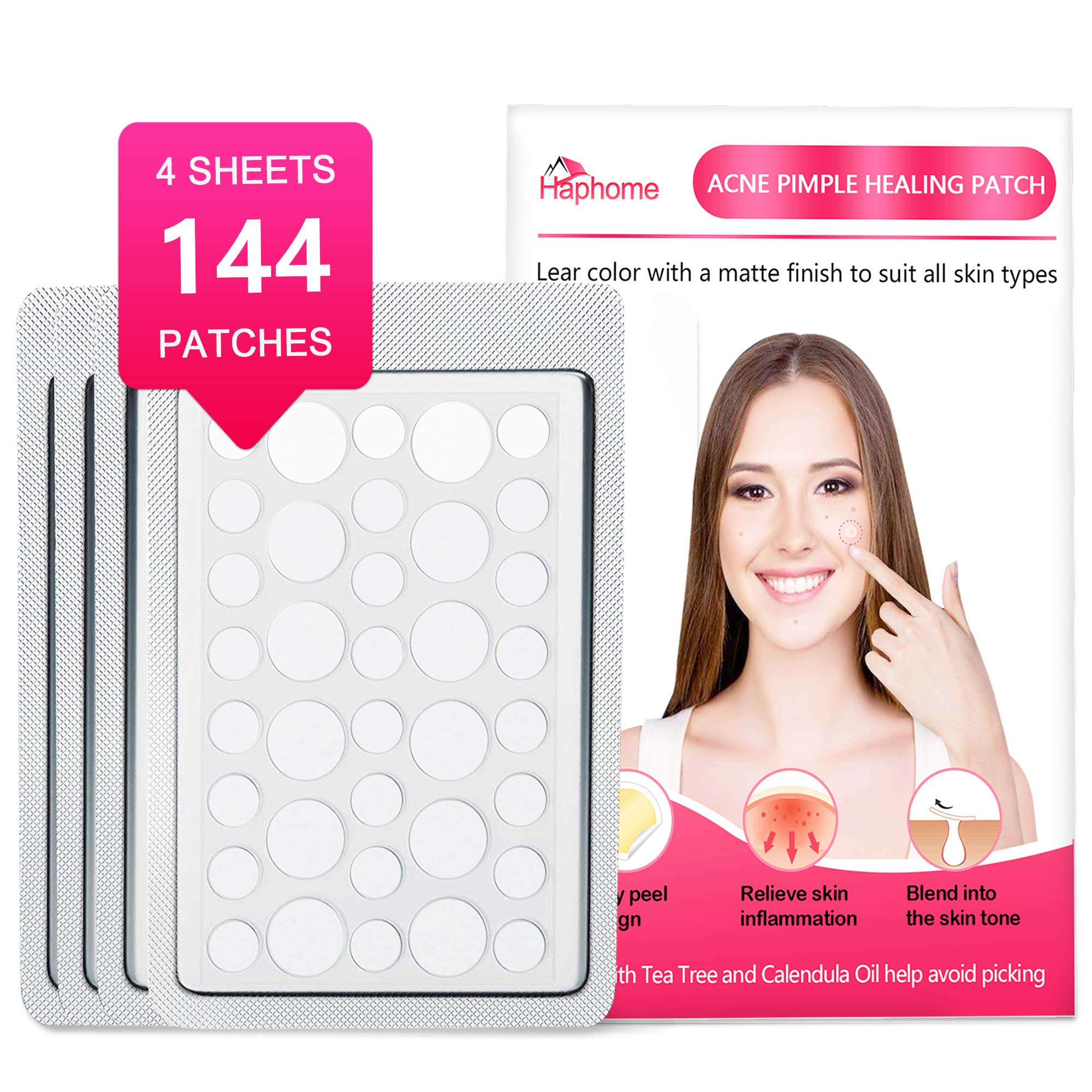 Haphome Pimple Patch, Acne Patch, Tea Tree and Calendula Oil Hydrocolloid Bandages for Acne Dots, Acne Spot Treatment Zit Patch (144 Patches, 4 Pack) by Haphomee