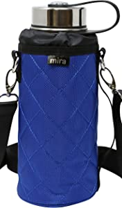 MIRA Water Bottle Carrier for Wide Mouth Insulated Bottles   Fits, Hydro Flask, Camelbak, Takeya Wide Mouth Bottles   Adjustable Shoulder Strap with Carry Handle Bottle Bag