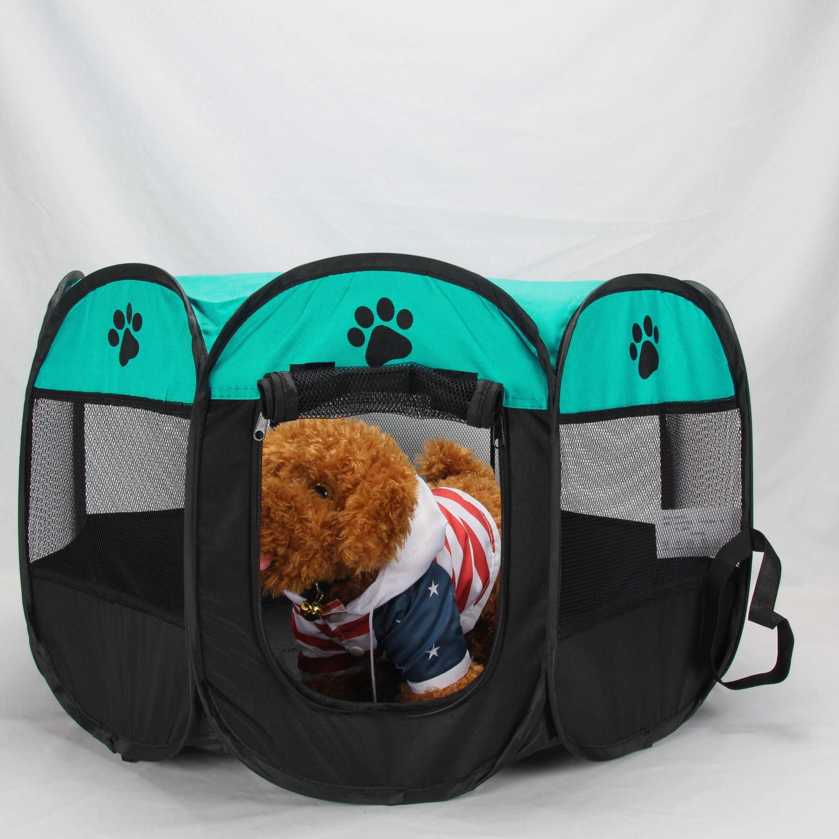 MiLuck Portable Outdoor Dog Playpen,Exercise 8-Panel Kennel Mesh Shade Cover Indoor/Outdoor Tent Fence for Pet Dogs Cats (L, Blue) by MiLuck (Image #2)