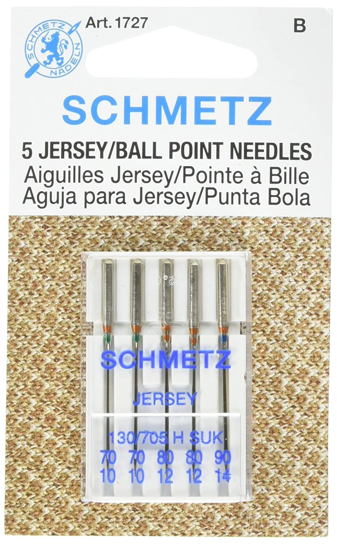 25 Schmetz Assorted Jersey Ball Point Sewing Machine Needles 130/705 H SUK Sizes 70/10, 80/12, 90/14 1727
