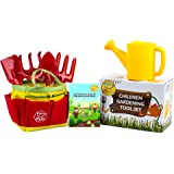 Gardening Gifts for Kids by My Funfare, Little Gardener Tool Set, Gardening Equipment for Kids - Includes 2 Rakes, 1 Trowel, 1 Shovel, 1 Watering Can, 1 Garden Bag, and 1 Gardeners Guidebook.