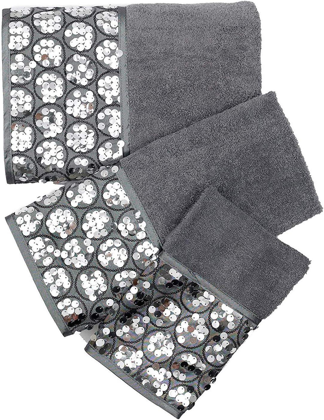 "Popular Bath /""Sinatra Silver/"" 3-Piece Towel Set New Free Shipping"