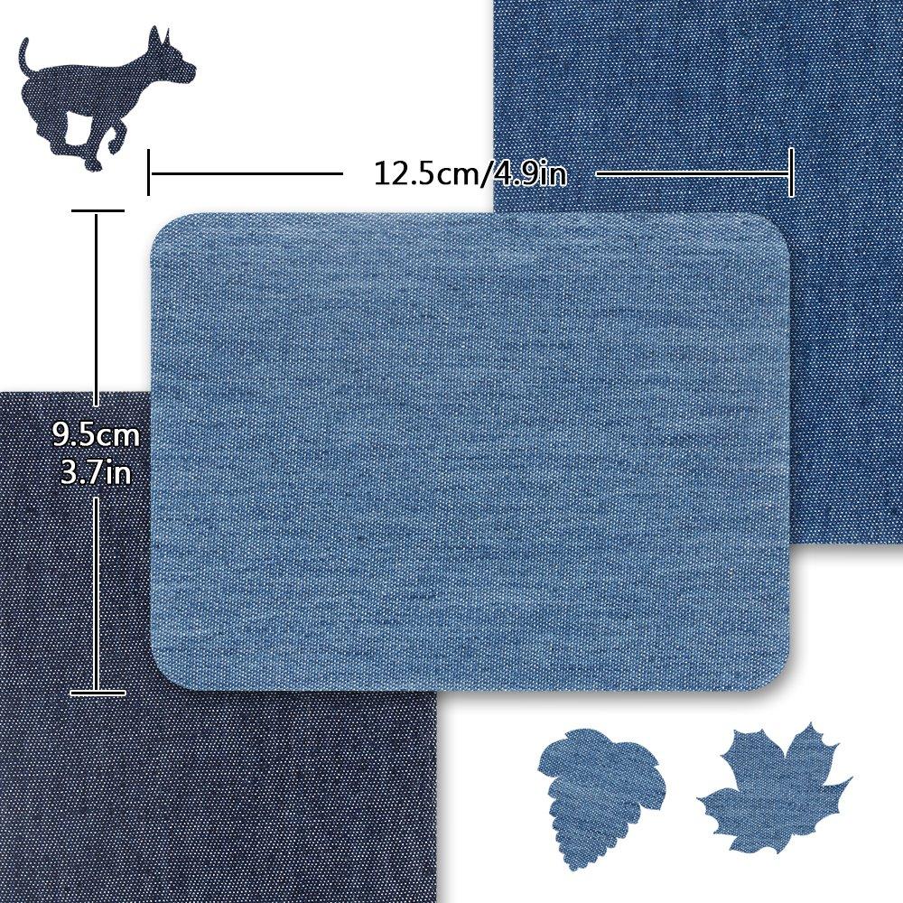 20 piezas de hierro en parches para jeans, parches de hierro en denim kit de reparación de jeans surtidos de algodón, ideal para parche de coser en ...