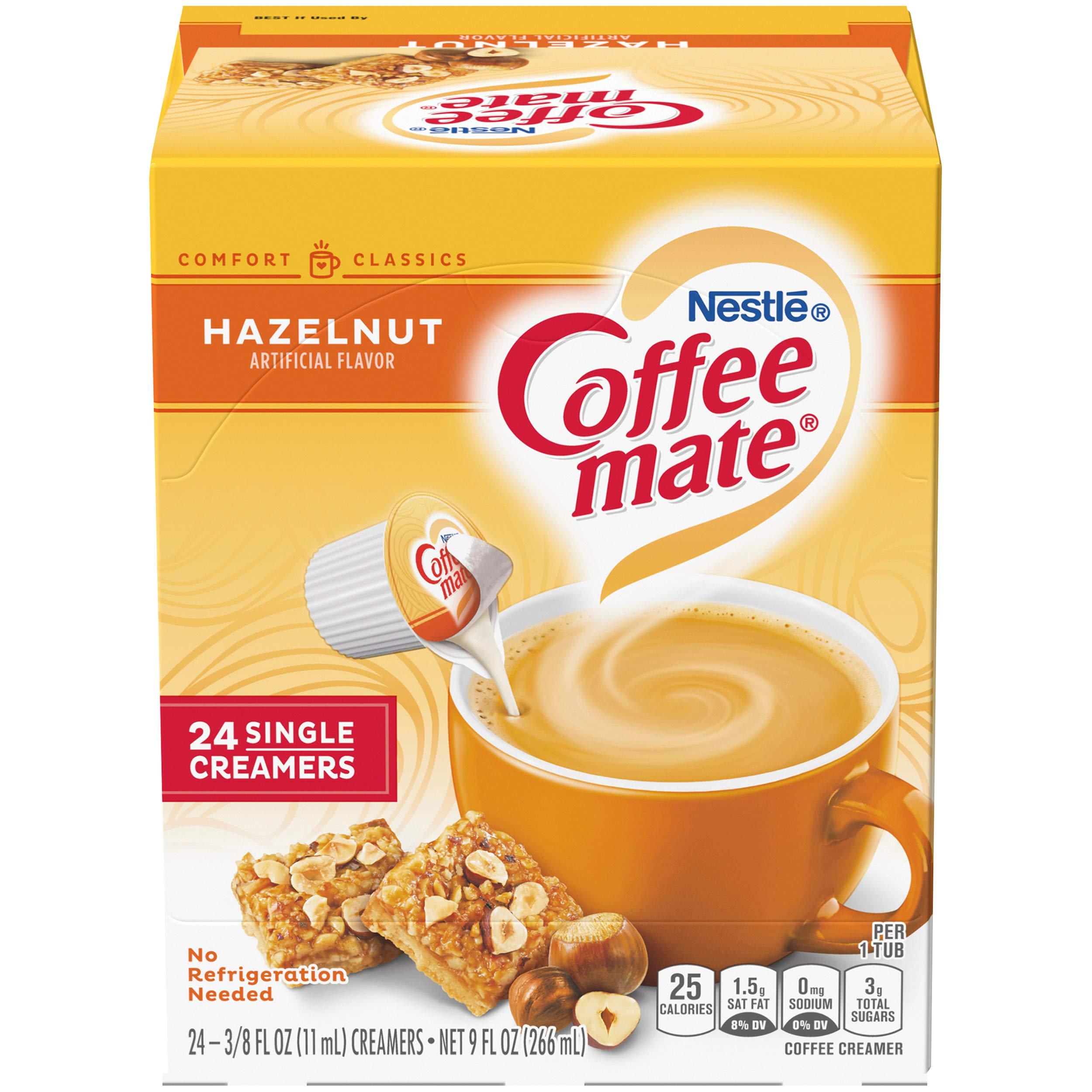 Coffee Mate Coffee Creamer Liquid Singles, Hazelnut, 24 Count, Pack of 4