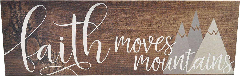 Faith Moves Mountains Wood Rustic Style Wall Décor Sign 6x18