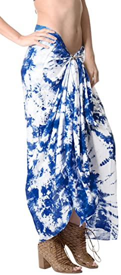 0bf13eea7e LA LEELA Rayon Beach Cover Up Women Wrap Sarong Tie Dye 78 quot X43 quot   ...