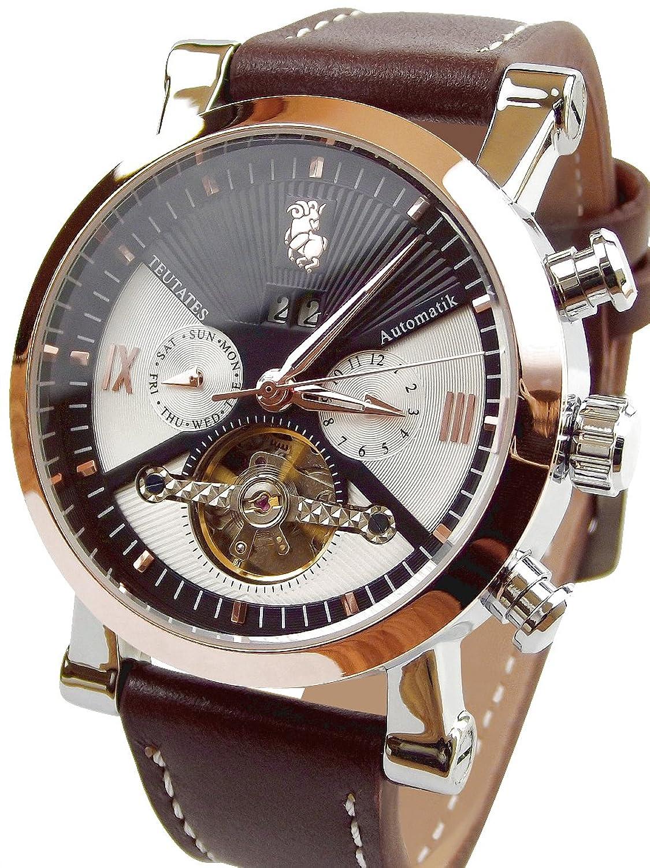 Teutates ZwÖlfbock 2016-A Uhr Automatik-Uhr Herren-Armband-Uhr analog mit mechanischen Uhrwerk großes Ziffernblatt