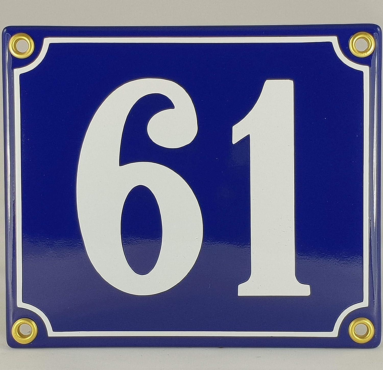 61 Blau-Wei/ßHandarbeit Hausnummer Emaille Schild Nr