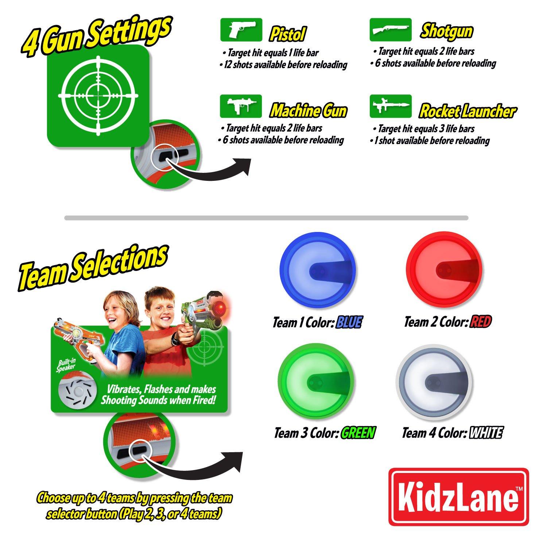 Kidzlane Infrared Laser Tag : Game Mega Pack - Set of 4 Players - Infrared Laser Gun Indoor and Outdoor Group Activity Fun. Infrared 0.9mW by Kidzlane (Image #4)