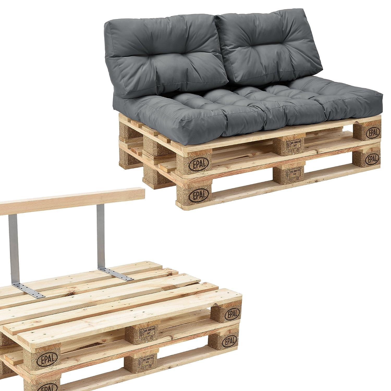 [en.casa] Euro Paletten-Sofa - DIY Möbel - Indoor Sofa mit Paletten-Kissen / Ideal für Wohnzimmer - Wintergarten (1 x Sitzauflage und 2 x Rückenkissen) Grau - inkl. 2 Europaletten + Rückenlehne