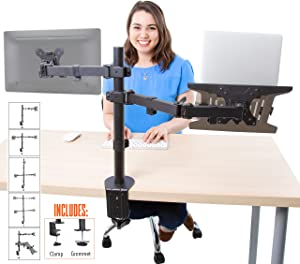 Stand Steady Monitor Mount + Laptop Stand | Height Adjustable Monitor and Keyboard Stand with Full Articulation and Desk Clamp Or Grommet | VESA Mount 13-32 inches (Arm + Laptop Clamp)