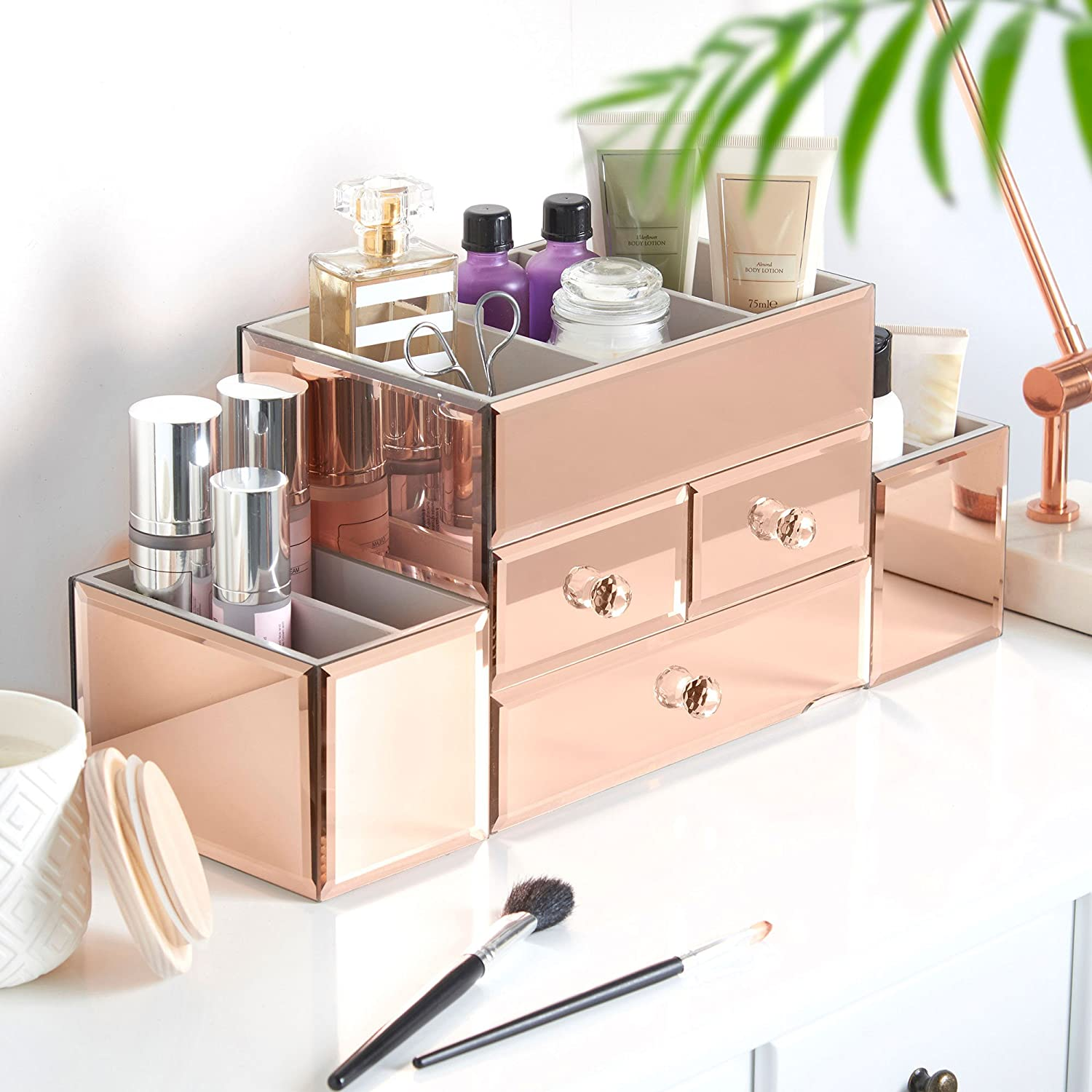 Amazon.com: Beautify Large Mirrored Rose Gold Glass Jewelry Box & Cosmetic  Makeup Organizer with 3 Drawers and 9 Sections: Beauty