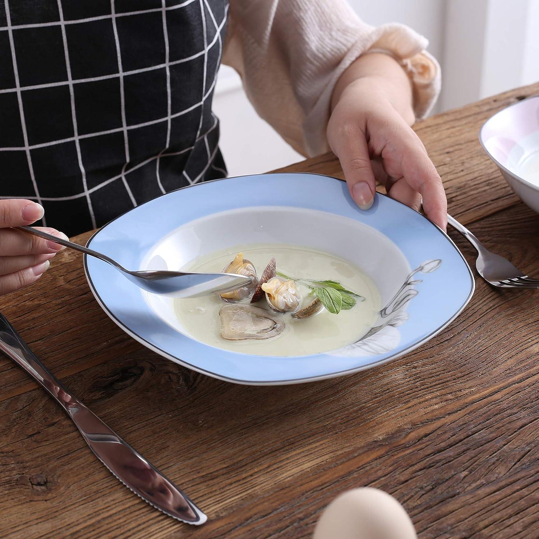 VEWEET Debbie Juegos de Vajillas 18 Piezas de Porcelana con 6 Platos 6 Platos Hondos y 6 Platos de Postre para 6 Personas