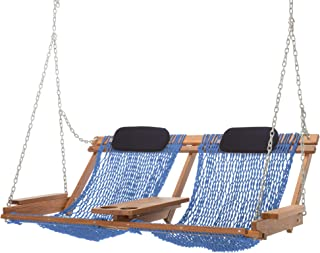 product image for Nags Head Hammocks Cumaru Deluxe Double Porch Swing, Coastal Blue DuraCord