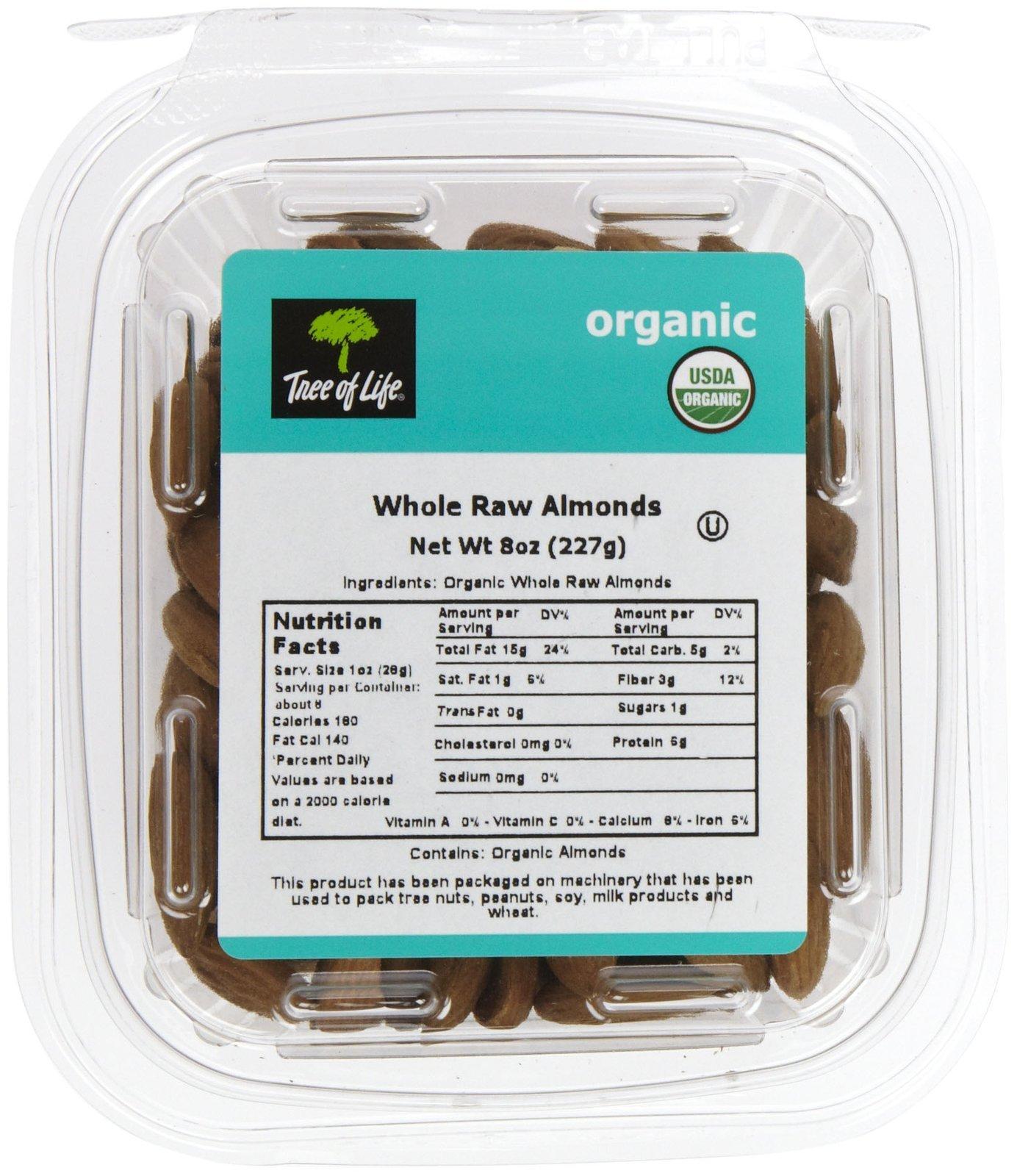 Tree Of Life Organic Whole Raw Almonds, 8 oz