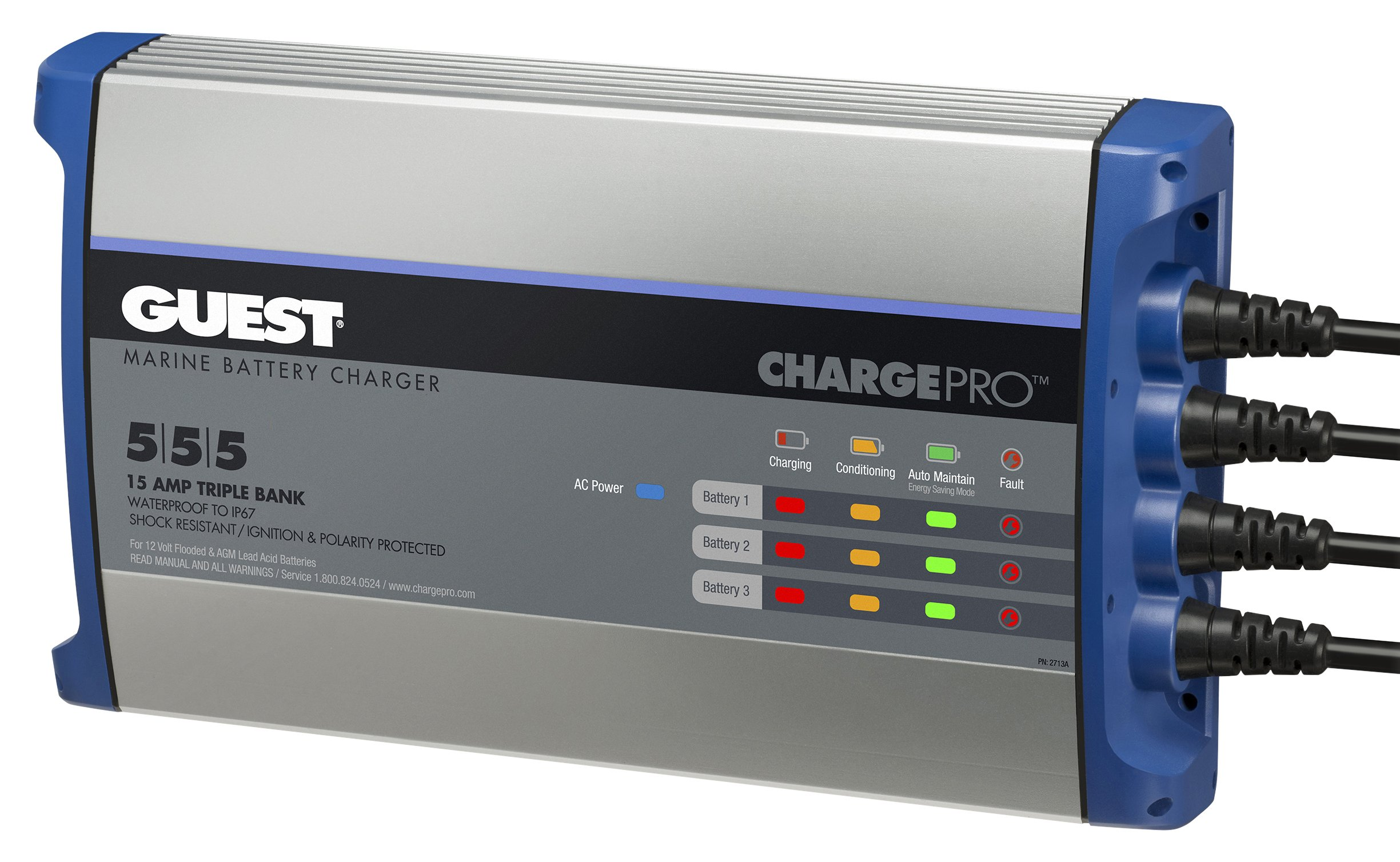 Guest 2713A ChargePro On-Board Battery Charger 15A / 12V, 3 Bank, 120V Input by Guest