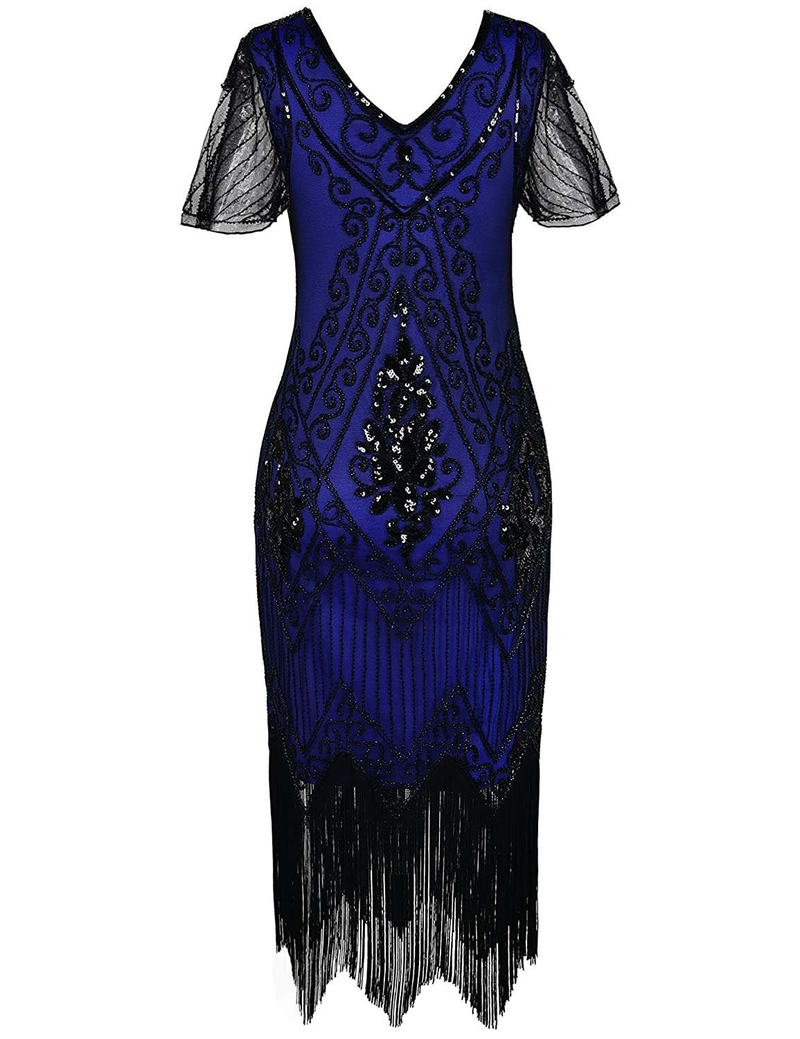 PrettyGuide Womens 1920s Dress Sequin Art Deco Flapper Dress with Sleeve: Amazon.co.uk: Clothing
