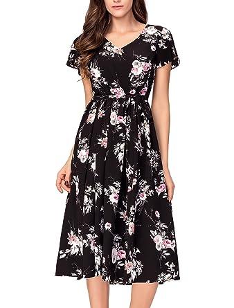 Noctflos Women's Black Floral Midi Dresses