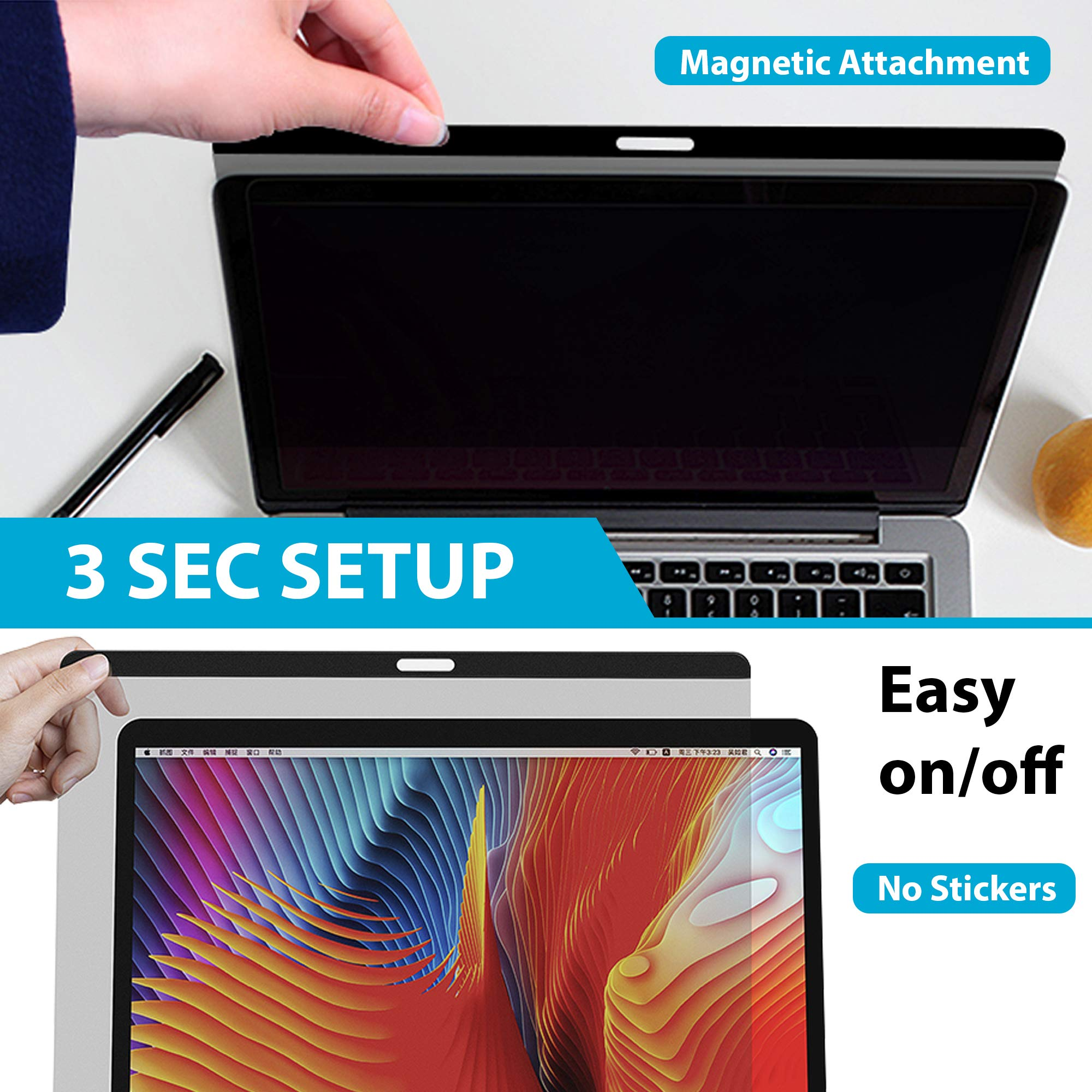 ADVTECH 2nd Gen Magnetic Privacy Screen Filter Compatible for Latest MacBook Pro 13'' Touch Bar (Late 2016) and MacAir (2018) No Stickers Required [Anti-UV Rays] Anti-Glare [Screen Protection] No Leak by ADVTECH (Image #5)