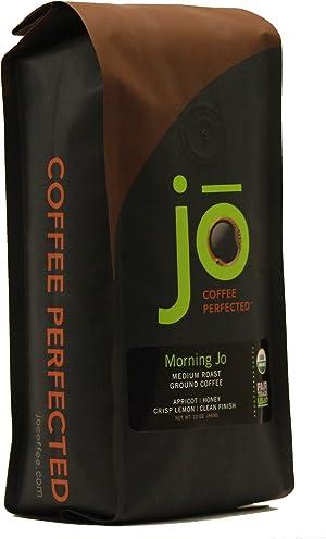MORNING JO: 12 oz, Organic Breakfast Blend Ground Coffee, Medium Roast, Fair Trade Certified, USDA Certified Organic, NON-GMO, 100% Arabica Coffee, Gluten Free, Gourmet Coffee from Jo Coffee