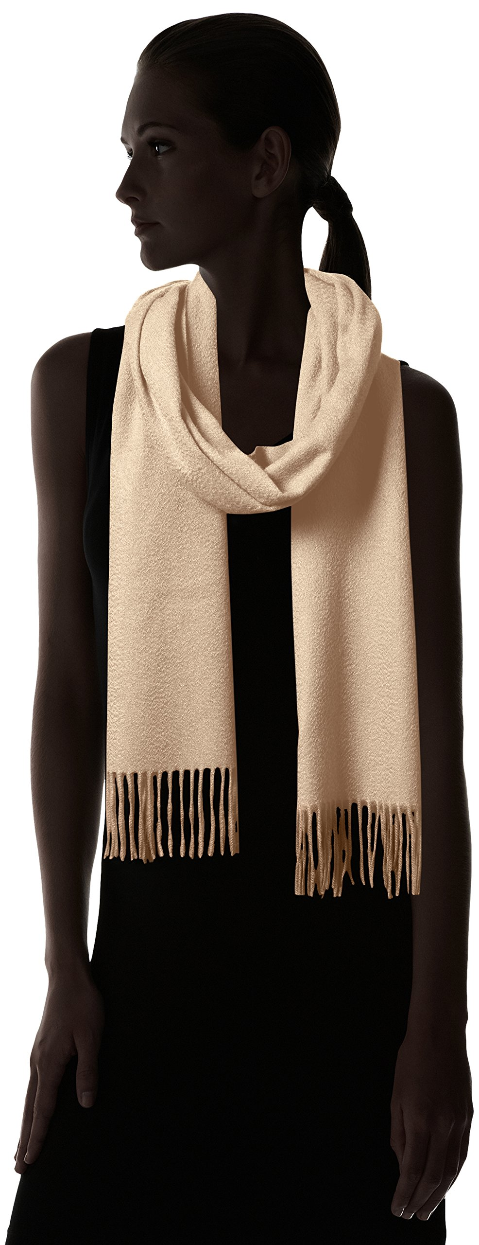 Sofia Cashmere Women's 100% Cashmere Woven Scarf with Fringe, Natural One by Sofia Cashmere (Image #3)