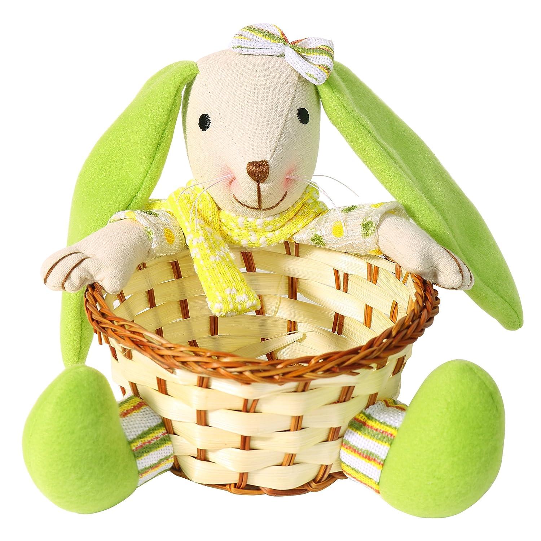 Valery Madelyn 15 * 15 * 19CM Tessuto tradizionale giallo e verde Coniglio / Coniglio con orecchie verdi e cesto, porta sciarpa gialla e scarpe verdi