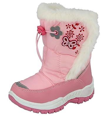 Girls Kids Faux Fur Wellington Boots Winter Wellies Shoes Pink Colour UK Size 1