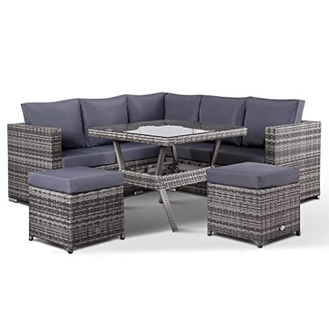 Superb Club Rattan Lille Corner Sofa With Dining Table And 2 Stools In Small Grey Rattan Interior Design Ideas Gentotthenellocom