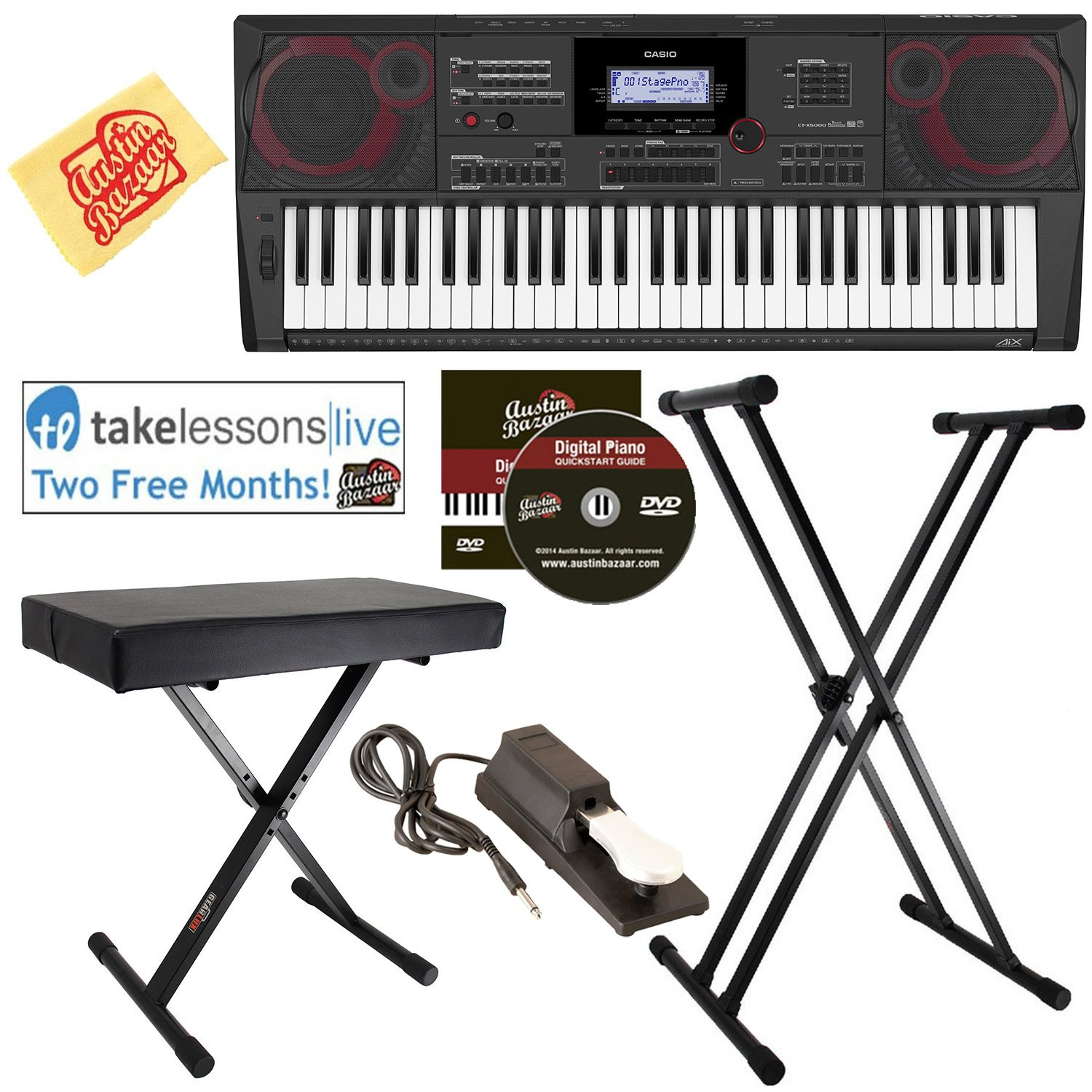 Casio CT-X5000 Keyboard Bundle with Adjustable Stand, Bench, Sustain Pedal, Online Lessons, Austin Bazaar Instructional DVD, and Polishing Cloth