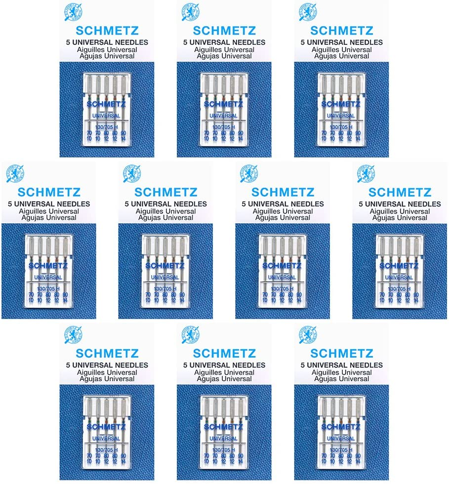 50 Schmetz Universal Sewing Machine Needles - Assorted sizes - Box of 10 cards