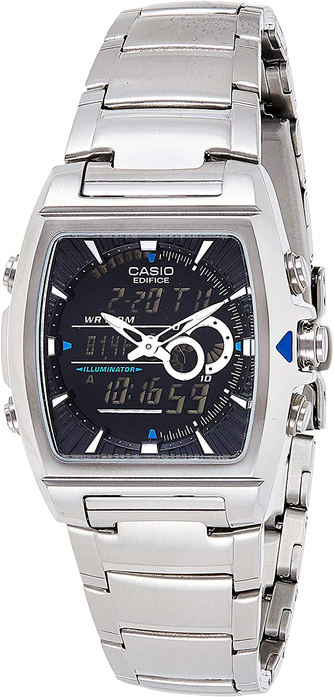 Casio EDIFICE Reloj en caja sólida, 10 BAR, Negro, para Hombre, con Correa de Acero inoxidable, EFA-120D-1AVEF