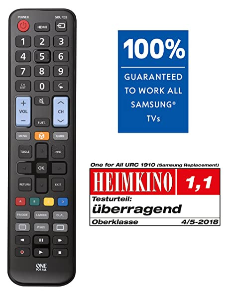One For All Samsung TV Replacement remote – Works with ALL Samsung  televisions – Ideal TV replacement remote control