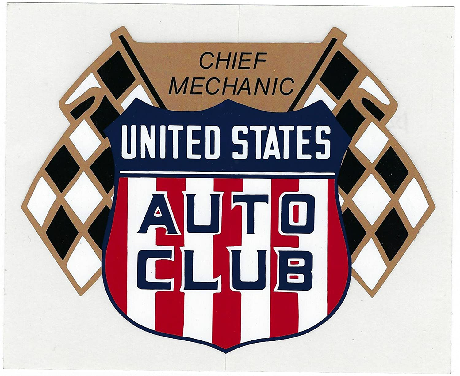 Amazon com usac chief mechanic racing decal sticker 6 inches long size vintage style automotive