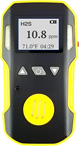 Hydrogen Sulfide Detector by FORENSICS Professional Dust Explosion Proof Adjustable Sound, Light Vibration Alarms USA NIST Calibration 0-100ppm H2S