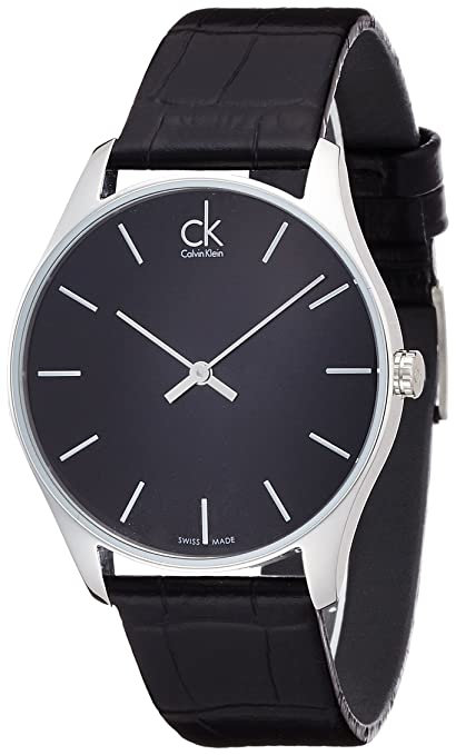 calvin klein men s quartz watch black dial analogue display calvin klein men s quartz watch black dial analogue display quartz leather k4d211 °c1 amazon co uk watches