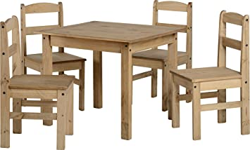 Panama 4 Seater Natural Wax Pine Wooden Dining Set Table 4