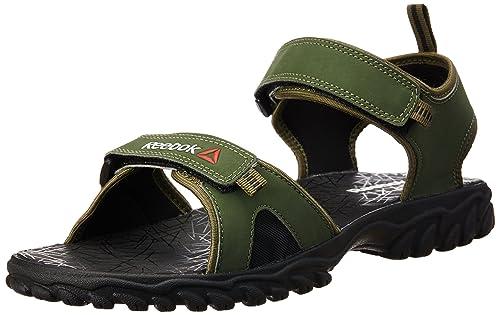 07672308e Reebok Men s Aztrix Primal Green and Black Sandals - 11 UK India (45.5 EU