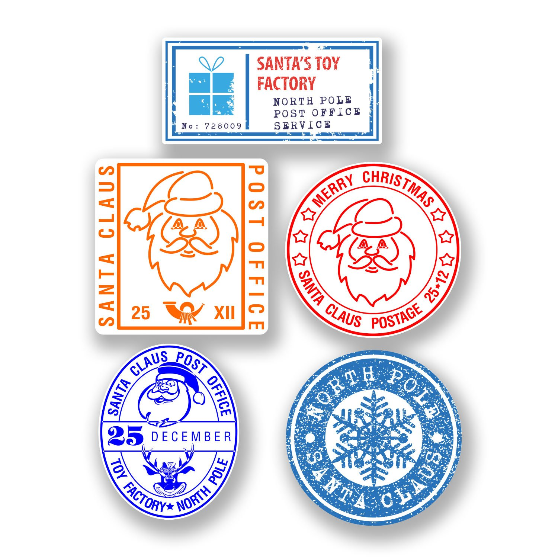 5 x 4cm Christmas Stamp Vinyl Stickers for Kids Christmas Letter to Santa #6601 (Approx 4cm Tall.) DestinationVinyl
