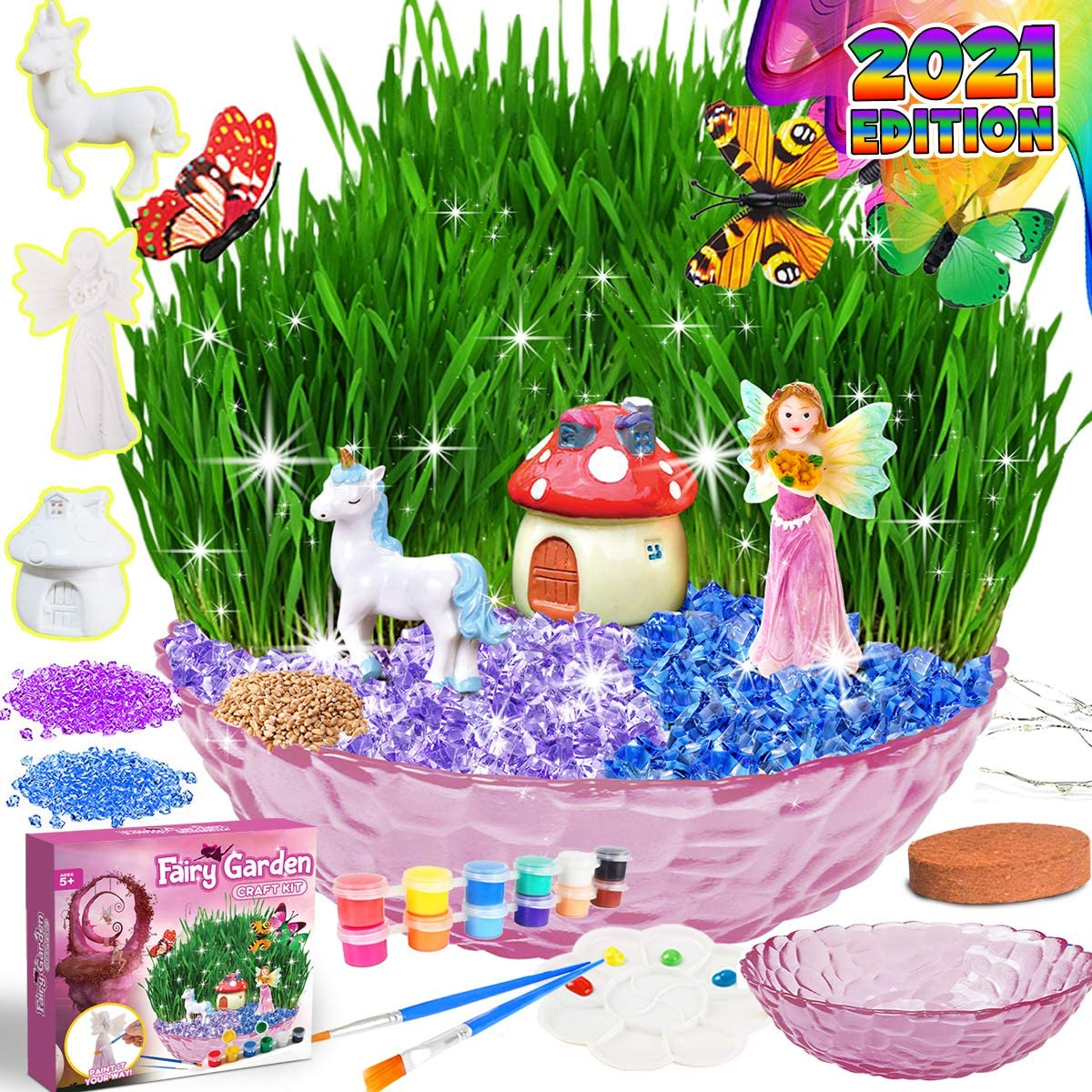 Catcrafter Fairy Garden Decor Tool Kit Set- DIY Indoor Outdoor Plant Accessories Gardening paint kit Grow Light STEM Project Arts and Crafts Unicorns Gifts for girls boys toddlers kids ages 5 6 7 8 9+