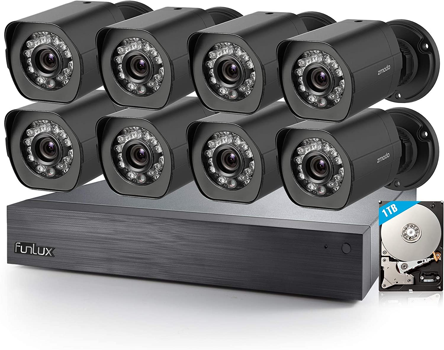 Zmodo Home Security Camera System, 16 Channel 720p HD NVR 8 Bullet Indoor/Outdoor sPoE Security Cameras, Surveillance CCTV, Night Vision, Motion Detection, 1TB Hard Drive