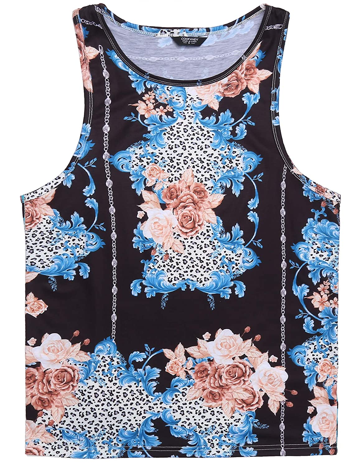 a6a5b4f9aace0 Amazon.com  COOFANDY Men s Floral Tank Top Sleeveless Tees All Over Print  Casual Sport Gym T-Shirts Hawaii Beach Vacation  Clothing