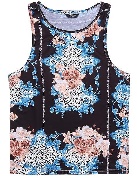 f404607eb04081 COOFANDY Men s Sleeveless Shirt Floral Tank Tops Loose Beach Summer  Vacation Hawaii T Shirts Graphic
