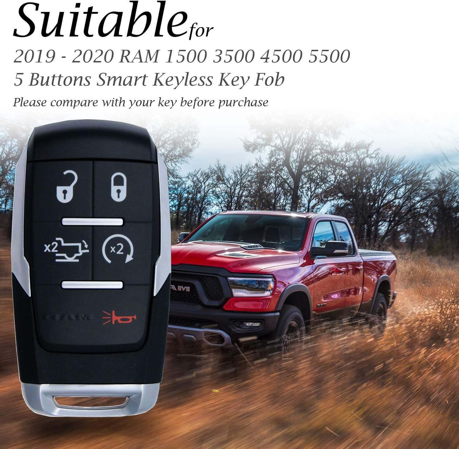 5-Button, Red Vitodeco Genuine Leather Keyless Entry Remote Control Smart Key Case Cover with Leather Key Chain for 2019-2020 RAM 2500 5500 4500 3500