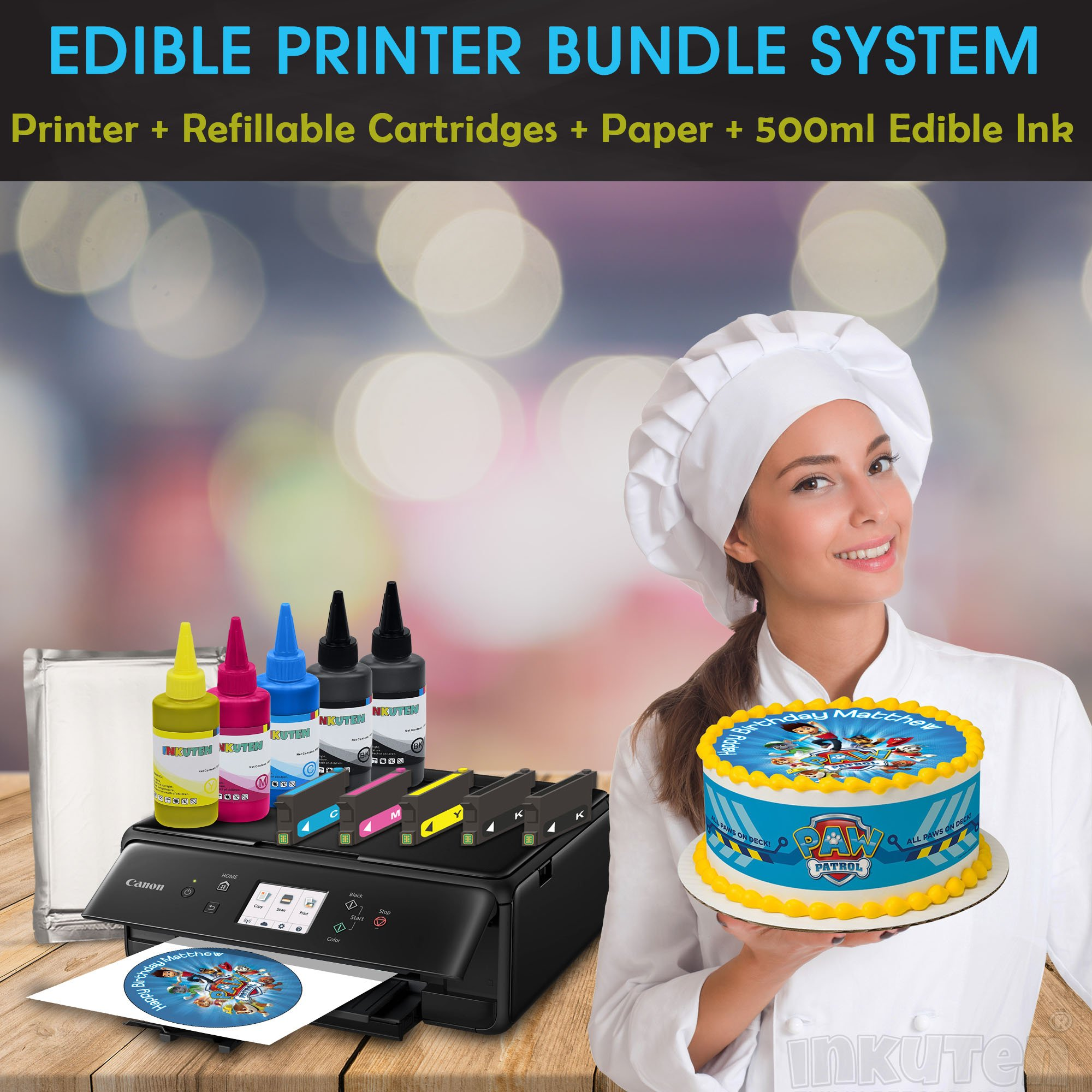 Professional Edible Printer Bundle Comes with Refillable Edible Cartridges, 24 Frosting sheets and 500ml Premium Edible Ink, Edible Printer For Cakes By INKUTEN